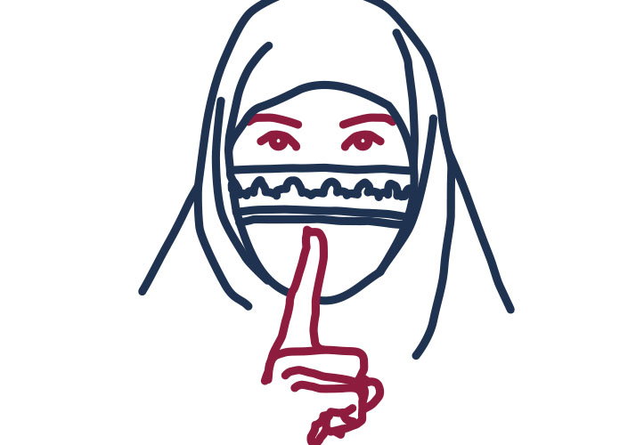Frau mit Niqab gebietet Schweigen