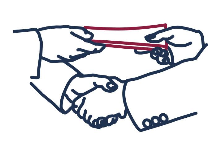 Händeschütteln und Geldübergabe