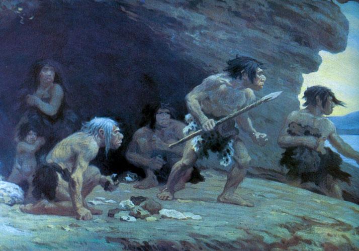 Gruppe von Neanderthalern