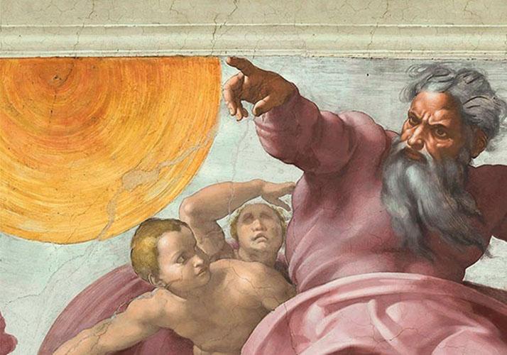 »Die Erschaffung der Sonne und des Mondes« (Michelangelo); Ausschnitt