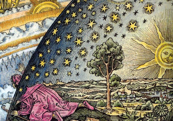 »Wanderer am Weltenrand« (koloriert, Camille Flammarion, 1888)
